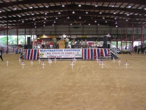Stage in rodeo arena